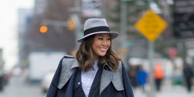 NEW YORK, NY - FEBRUARY 12:  Aimee Song is wearing a coat and blazer from thisisgreat  in the streets of Manhattan  on February 12, 2015 in New York City.  (Photo by Timur Emek/Getty Images)
