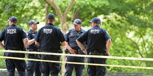 MANHATTAN, NEW YORK CITY, NEW YORK, UNITED STATES - 2016/07/03: NYPD emergency services, FBI & FDNY investigators closed off a portion of Central Park alongside Fifth Avenue between 59th and 70th Streets after young man named Conor Gordon's foot was blown off by an explosion of unknown origin while hiking amid the rocks. (Photo by Andy Katz/Pacific Press/LightRocket via Getty Images)