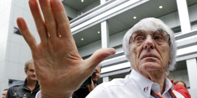 Formula One supremo Bernie Ecclestone speaks to the media at the paddock area ahead of the Russian F1 Grand Prix in Sochi, Russia, October 9, 2015. REUTERS/Maxim Shemetov