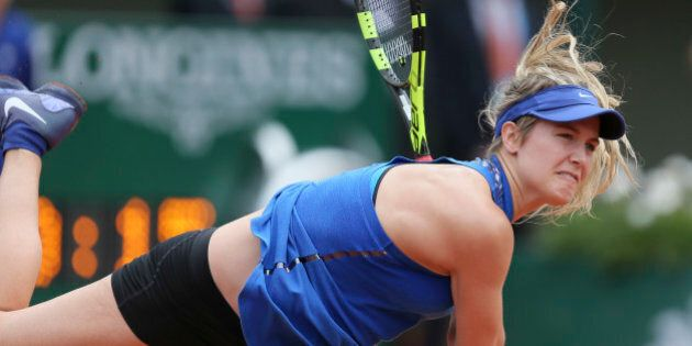 Canada's Eugenie Bouchard serves in her second round match of the French Open tennis tournament against...
