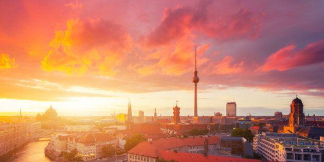 Berlin skyline in a cloudy