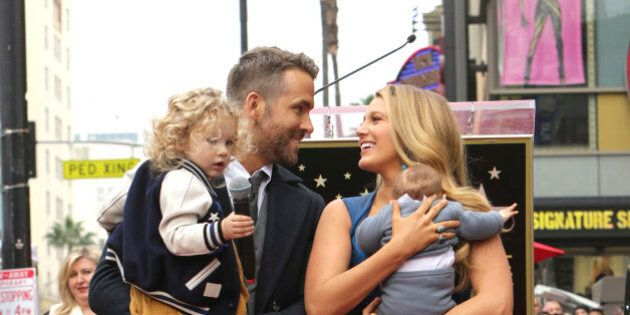 Ryan Reynolds, Blake Lively and their two children attend a ceremony honoring Ryan Reynolds with a star...