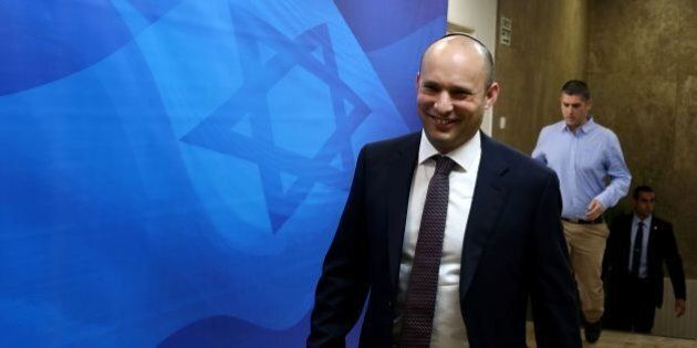 Israeli Education Minister and head of the Jewish Home right-wing party Naftali Bennett arrives to the...