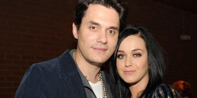 CULVER CITY, CA - JANUARY 28: Recording artists John Mayer (L) and Katy Perry attend Hollywood Stands...
