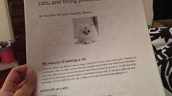 Les parents de cet enfant qui rêve d'un chat auront du mal à