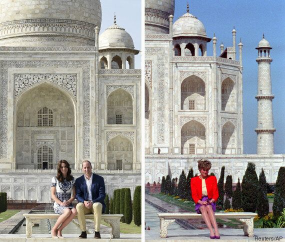 Au Taj Mahal, William et Kate posent sur le même banc que Lady Di en 1992