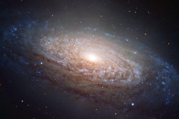 La galaxie NGC 3521, vue de biais depuis la