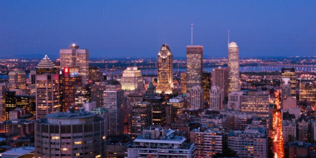 Montreal downtown in dusk skyline.