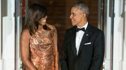 Michelle Obama vous coupera le souffle avec sa robe Versace pour son dernier dîner