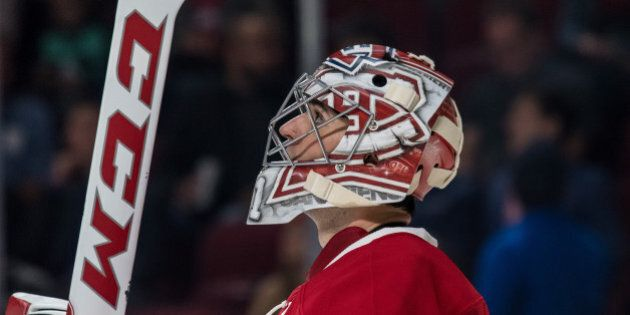 October 6, 2016: Montreal Canadiens goalie Carey Price (31) looking at the board during the second period of a preseason NHL game  between the Toronto Maple Leafs and the Montreal Canadiens at the Bell Centre in Montreal, QC (Photo by Vincent Ethier/Icon Sportswire via Getty Images)