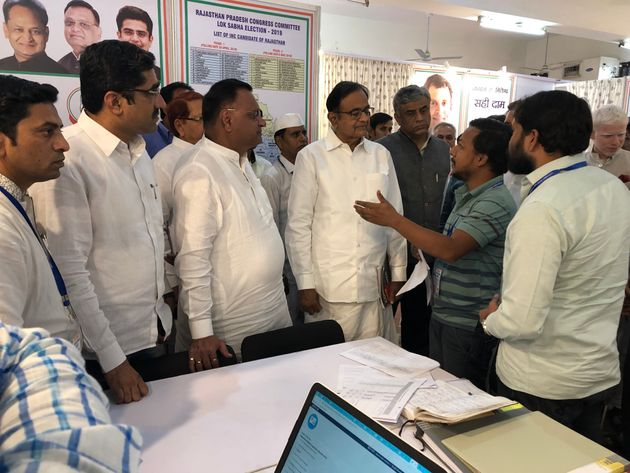 Congress's War Room head Jinda Sandbhor explaining its working to former Finance minister P. Chidambaram...