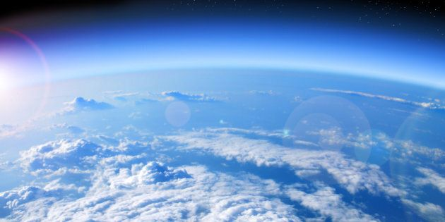 view of the Earth from space, blue planet and deep black