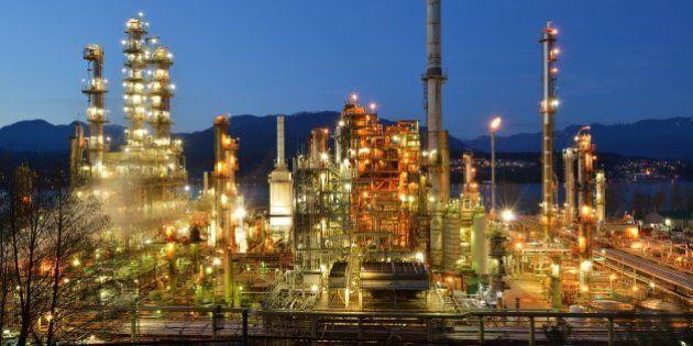Oil refinery at night, Burnaby, British Columbia,