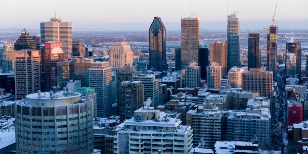 Montréal, Québec, Canada, January 4, 2016. -- Montreal is seen from Mount Royal (mont Royal) when the...