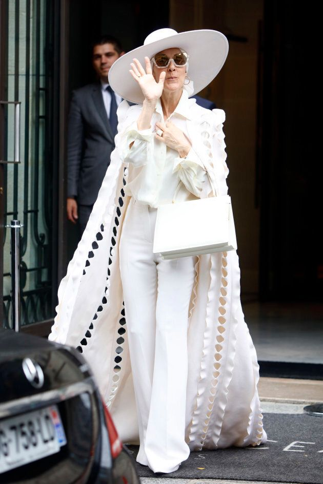 Celine Dion leaves her hotel in Paris, France, on July 12, 2017. (Photo by Mehdi Taamallah/NurPhoto via Getty Images)