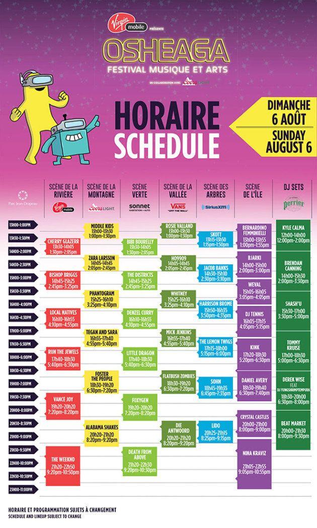 L'horaire complet du festival Osheaga 2017 enfin
