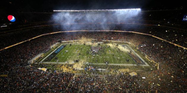 Feb 7, 2016; Santa Clara, CA, USA; A general view of the celebration of the Denver Broncos following...