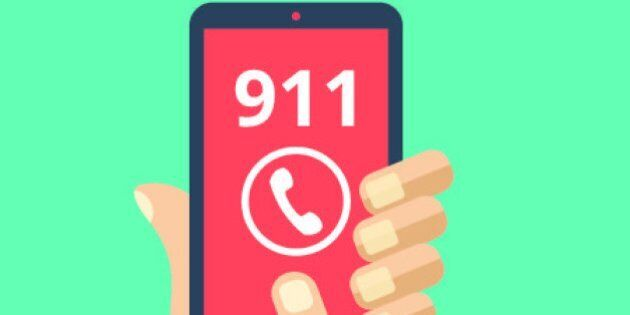 Call 911, emergency call concept. Hand holding smartphone, finger touching call button. Modern flat design...