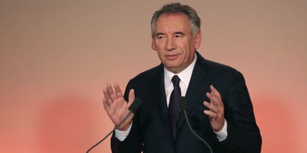 French center right party MoDem president Francois Bayrou delivers a press conference to announce he...