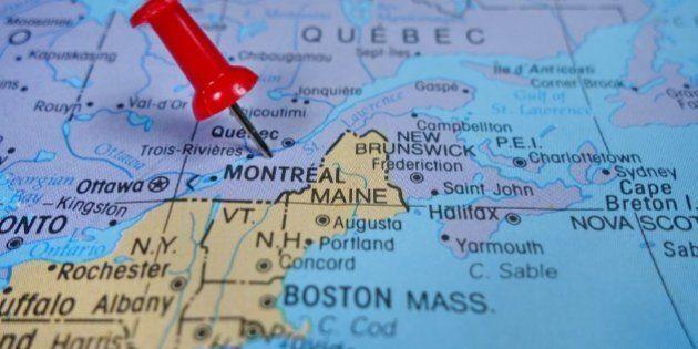 pushpin marking on Montreal map