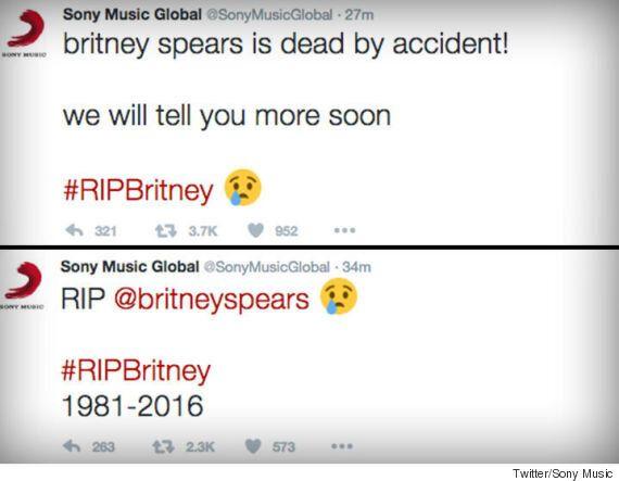 Piraté, le compte Twitter de Sony Music annonce la mort de Britney