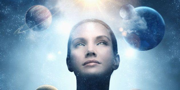 Planets orbiting around Pacific Islander woman's