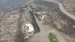 Un drone capte l'ampleur des dégâts des feux de forêt en