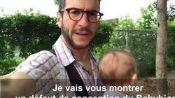 Ce porte-bébé a un défaut majeur et ce père le montre très