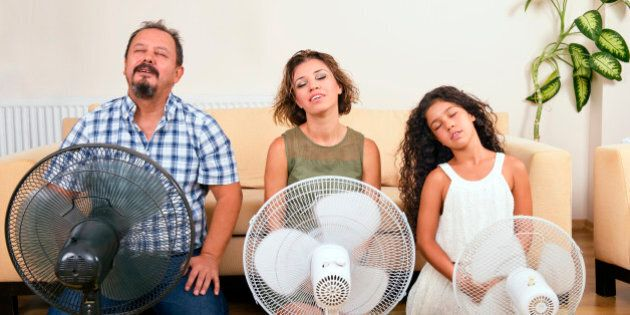 Whole family are sitting on the front of the ventilators.