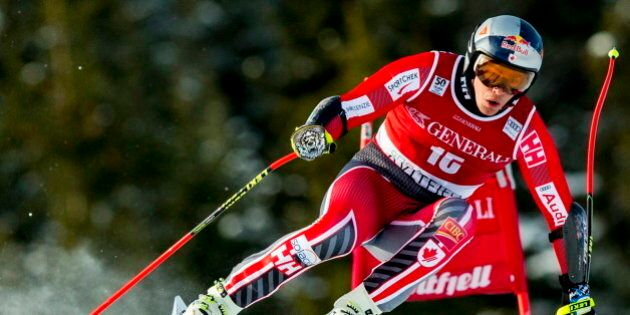 Canada's Erik Guay competes to place third in the FIS World Cup Alpine Skiing Mens Super G event in Kvitfjell,...