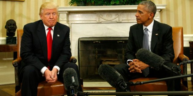 U.S. President Barack Obama meets with President-elect Donald Trump (L) to discuss transition plans in...