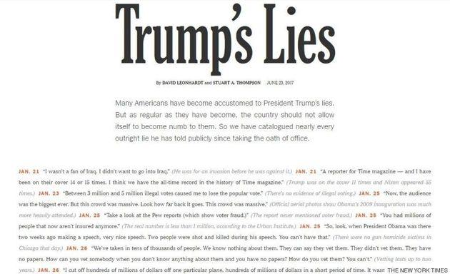 Le «New York Times» a recensé tous les mensonges de Trump (et ils sont