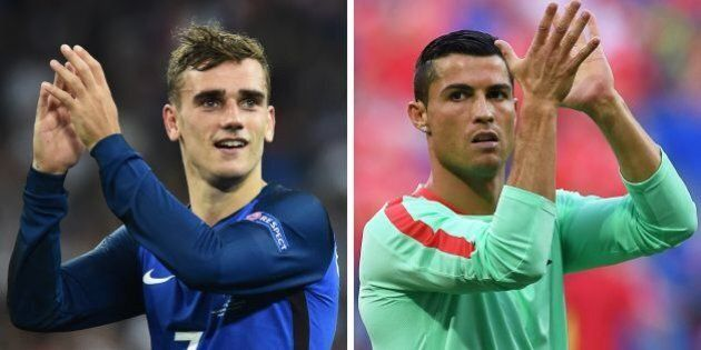 A combination of two file pictures made on July 8, 2016 shows France's forward Antoine Griezmann (L) in Marseille on July 7, 2016, and Portugal's forward Cristiano Ronaldo (L) in Decines-Charpieu, near Lyon, on July 6, 2016.France will face Portugal in the Euro 2016 final football match at the Stade de France in Saint-Denis, north of Paris, on July 10, 2016. / AFP / Bertrand LANGLOIS AND Francisco LEONG        (Photo credit should read BERTRAND LANGLOIS,FRANCISCO LEONG/AFP/Getty Images)