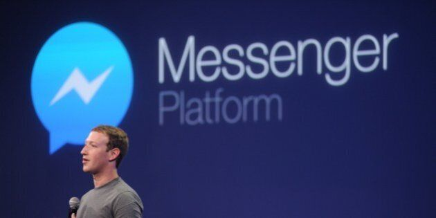 Facebook CEO Mark Zuckerberg introduces a new messenger platform at the F8 summit in San Francisco, California,...
