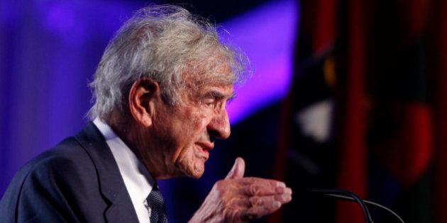 FILE - In this April 29, 2013 file photo, Elie Wiesel speaks at the 20th anniversary of the United States...
