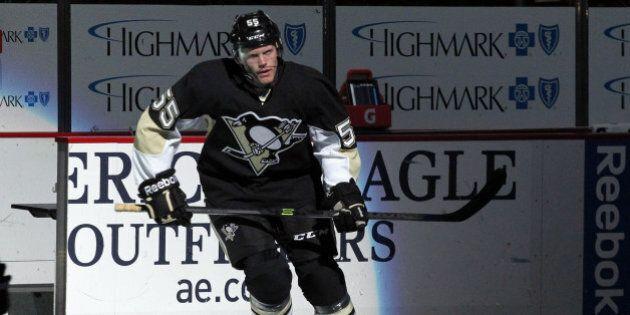 Dec 16, 2013; Pittsburgh, PA, USA; Pittsburgh Penguins defenseman Philip Samuelsson (55) takes the ice...