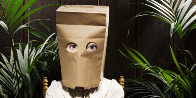 Woman with paper bag on head (Digital Composite)