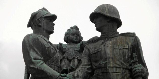 Part of the monument of the Gratitude for the Soviet Army Soldiers is pictured in Legnica, Poland July...