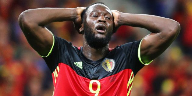 LYON, FRANCE - JUNE 13: Romelu Lukaku of Belgium reacts after missing a chance during the UEFA EURO 2016...