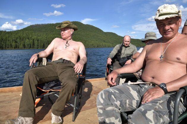 TYVA REPUBLIC, RUSSIA - AUGUST 5, 2017: Russia's President Vladimir Putin and Russia's Defense Minister...