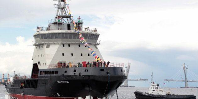 ST PETERSBURG, RUSSIA - JUNE 10, 2016: The Ilya Muromets diesel-electric icebreaker, the lead ship of...