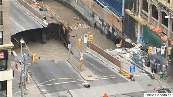 Une partie de la rue Rideau au centre-ville d'Ottawa s'est