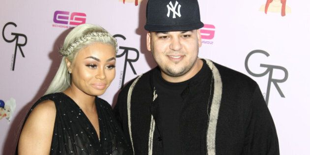 HOLLYWOOD, CA - MAY 10: Model Blac Chyna and Rob Kardashian attends Birthday Celebration And Unveiling...
