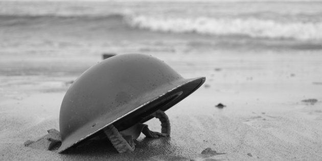 British Army Helmet left on the beach at Dunkirk after the retreat from the Germans