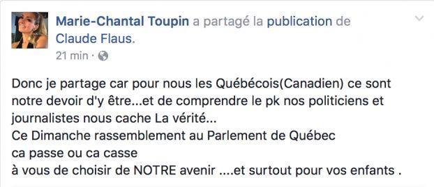 Marie-Chantal Toupin appuie le discours de La