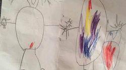 Quand ce petit garçon dessine sa famille, il n'oublie pas de rajouter les règles de sa