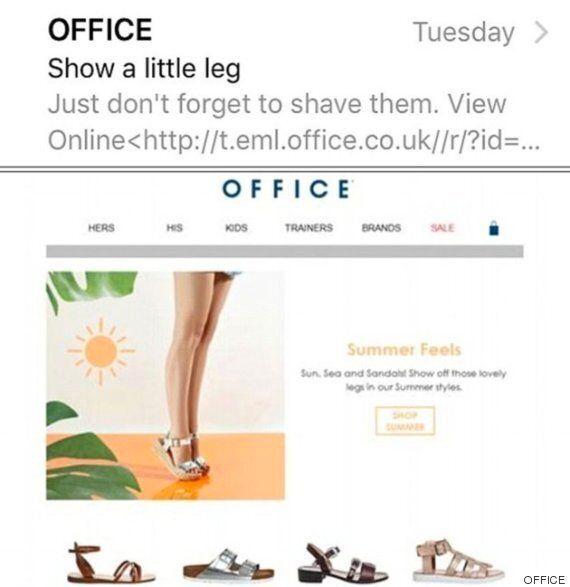 La marque de chaussures Office conseille à ses clientes de se raser les