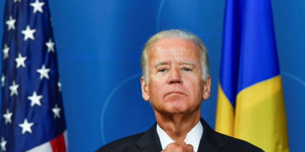 U.S. Vice President Joe Biden gestures during a news conference at the Swedish government offices, Rosenbad...