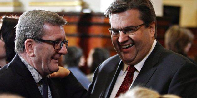 Denis Coderre et Régis Labeaume ne sont pas d'accord sur la question du visage voilé en public, mais...
