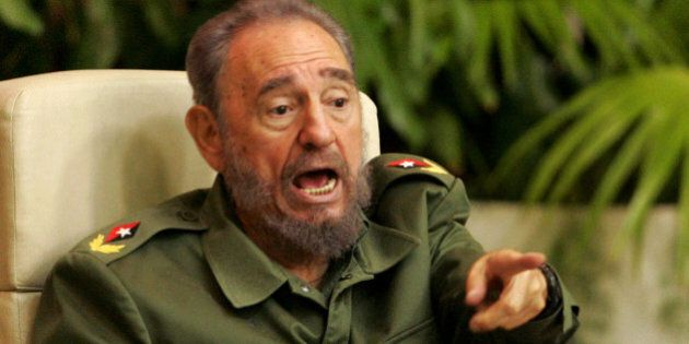 Cuban President Fidel Castro speaks during a conference on terrorism in Havana's convention centre June...
